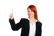 geschäftsfrau navigiert mit dem finger