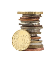 Euro cent and other coins on white