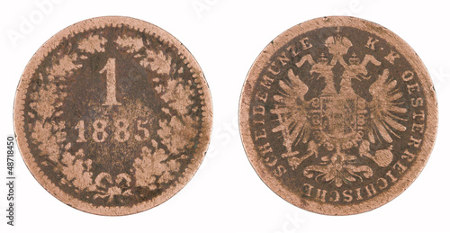 Old copper coin isolated