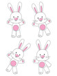 Set of rabbit characters