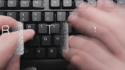 Time-lapse video typing on computer keyboard