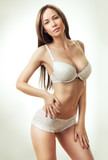 hot woman in white lingerie