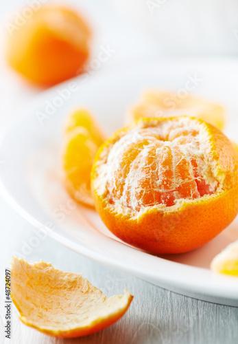 Close up of a peeled mandarin