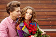 beautiful couple in love with rose
