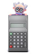Scientist is perched on top of a calculator