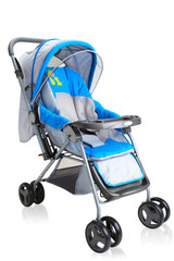 Smooth pram stroller carriage for new baby isolated