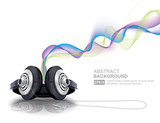 Realistic headphones with waves vector