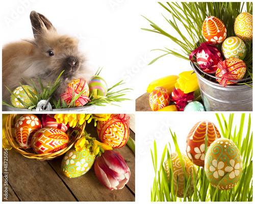 Happy Easter - baby rabbits and easter eggs