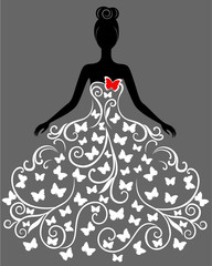Vector silhouette of young woman in dress