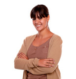 Charming young woman with fringes smiling at you poster