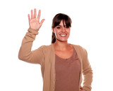 Smiling woman with fringes greeting at you poster