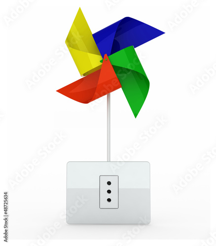 multicolor pinwheel over energy plug
