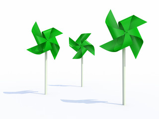 three green pinwheel