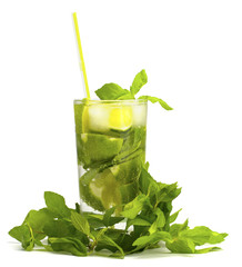 Alcoholic drink of Mojito and mint