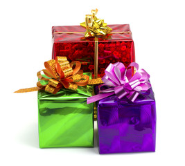 Violet, green, red and yellow gift
