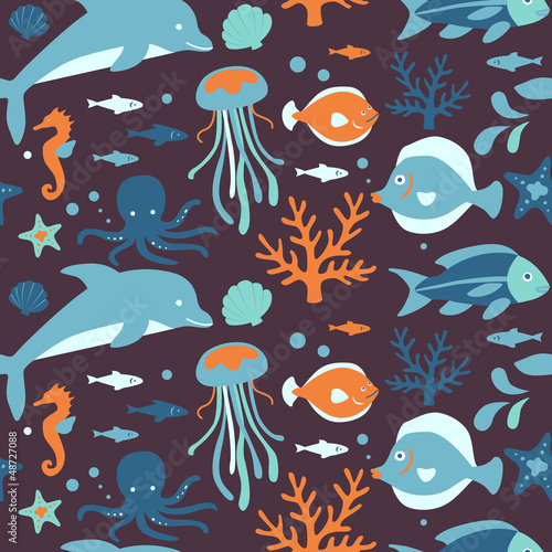 Cotton fabric Sea Creatures Collection: Seamless Pattern