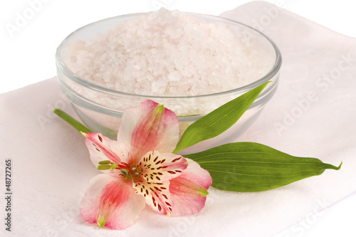 Spa accessories on a white background