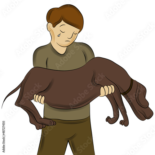 Man Carrying Injured Dog