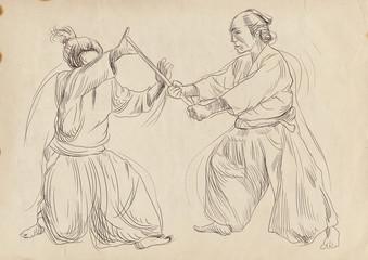 Aikido, Japanese martial art. (Original, hand drawing.)