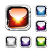 Chromed and Glossy set of Colorful Buttons