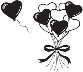 Heart balloons bouquet