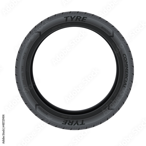 Detailed illustration of a car tire isolated on white background