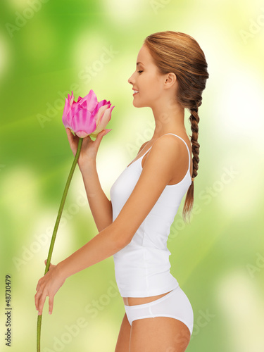 lovely woman with lotus flower