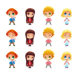 Characters with normal - blinked eyes - open mouth positions.