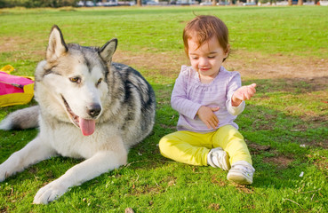 Guard dog watches baby play