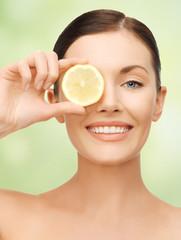 woman with lemon slice