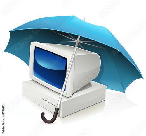 Ordinateur sous un parapluie (reflet)