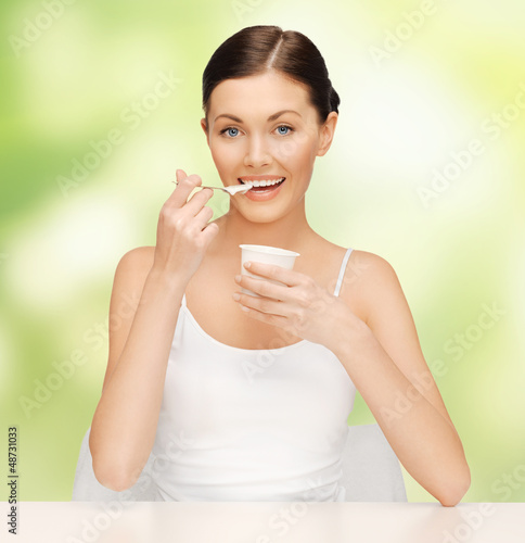 woman with yogurt