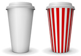 Take-away coffee paper cup vector template.