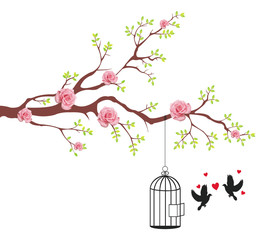 Bird of freeing from the cage to it's lover