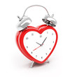 Isolated heart shaped alarm clock on white background