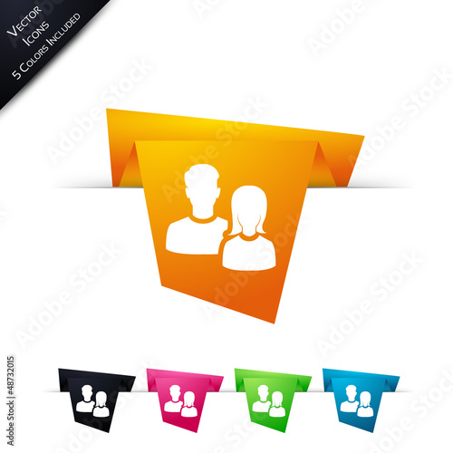 Symbole vectoriel papier origami Equipe / Dialogue