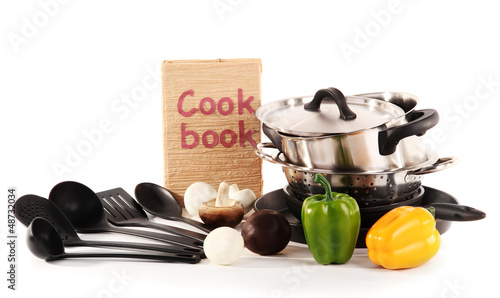 composition of kitchen tools and vegetables isolated on white