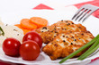 Fried chicken chopped meat cutlet with vegetables