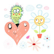 love cactus and flower