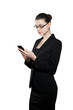 Beautiful young businesswoman with smartphone