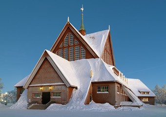 Kiruna Church in winter, Sweden