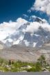 Trekker in high mountains of Georgia Caucasus