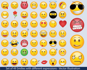 Set of 49 Smilies with different expressions