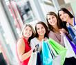 Shopping women looking away