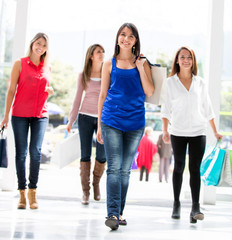 Shopping women walking
