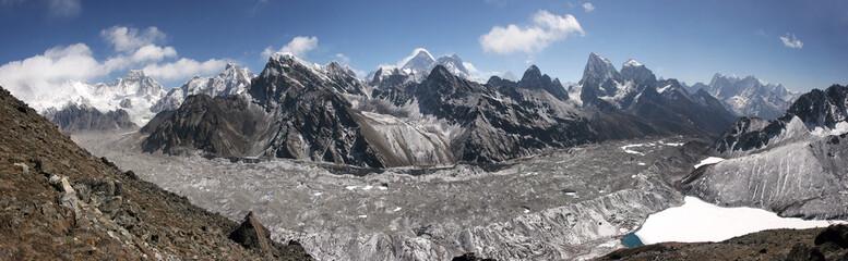 Himalaya panorama, Gokyo lake, Cho Oyu, Chomolungma, Mt. Everest