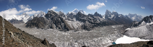 Himalaya panorama, Gokyo lake, Cho Oyu, Chomolungma, Mt. Everest