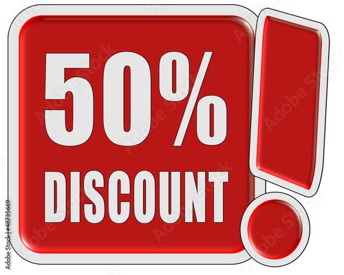 !-Schild rot quad 50% DISCOUNT