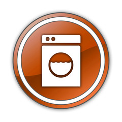 "Orange Glossy Button ""Laundromat"""