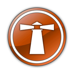 "Orange Glossy Button ""Lighthouse"""